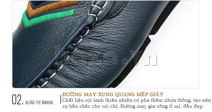 giày nam Olunpo CJY1402 thiết kế sang trọng với đường may xung quanh mép giày