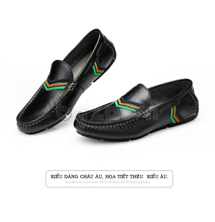 Giày nam Olunpo có thiết kế họa tiết 3 màu thêu bằng chỉ màu nổi bật