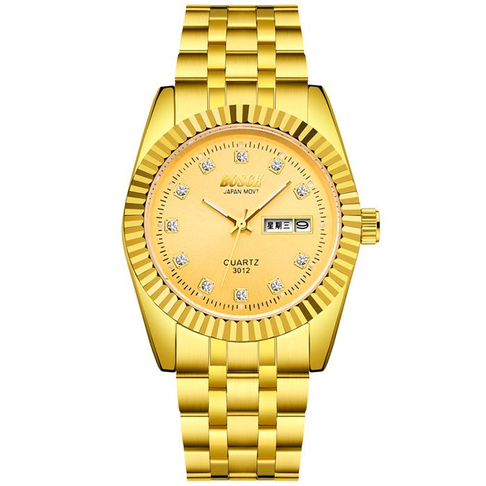 Đồng hồ vàng vành đai thép Bosck Luxury