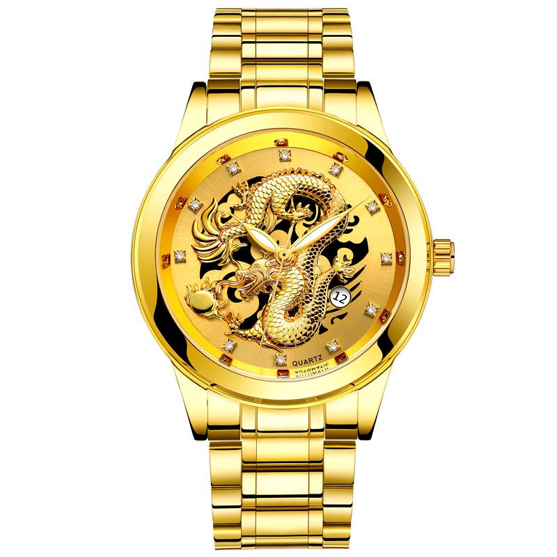 Đồng hồ nam Bosck chạm khắc hình rồng