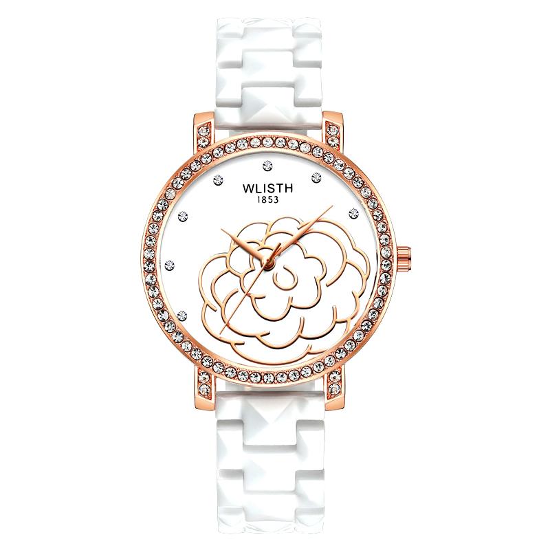 Đồng hồ nữ dây gốm thạch anh mặt hoa