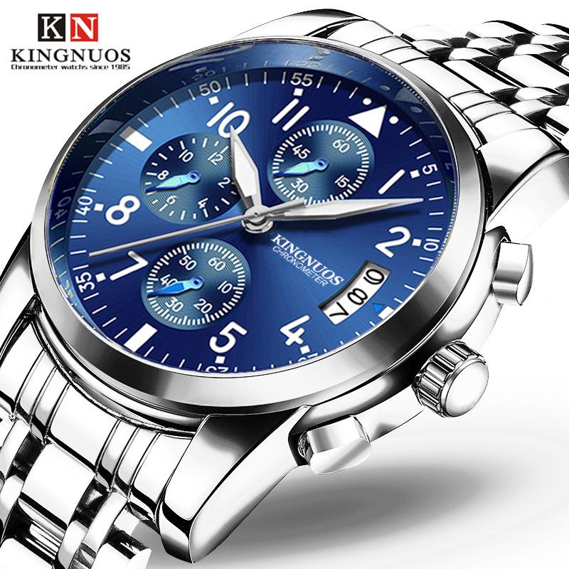 Đồng hồ vành đai thép dạ quang Kingnuos