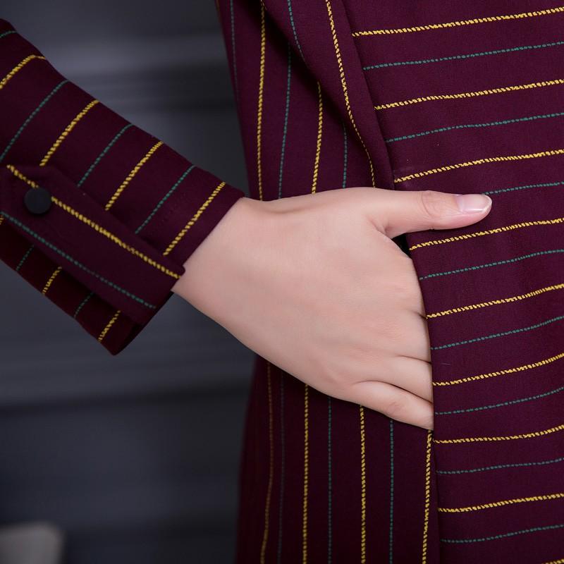 Đầm suông chữ A cổ gập họa tiết kẻ ngang SMT