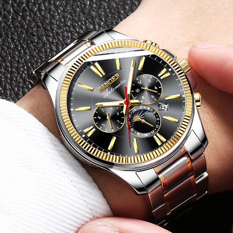 Đồng hồ cơ Chronograph kim chỉ dạ quang