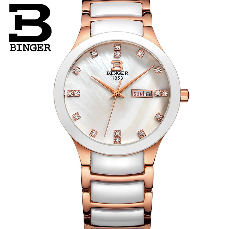 Đồng hồ nữ dây ceramic khảm trai Binger