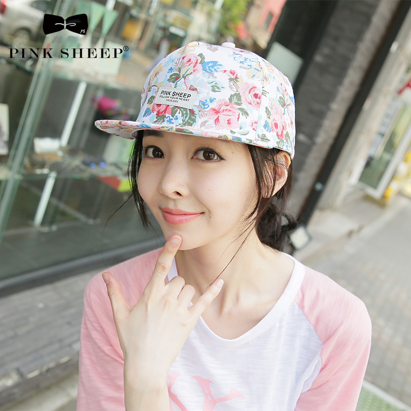 Mũ snapback nữ in hoa Pink Sheep