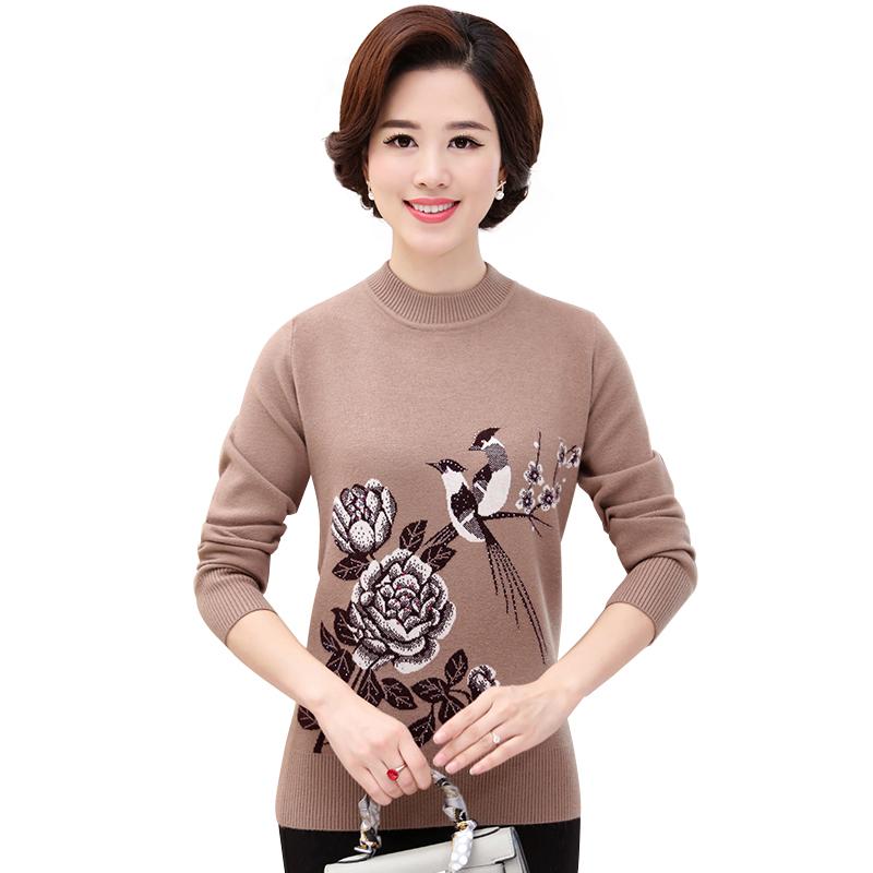 Áo len nữ dệt kim cổ lọ thấp họa tiết thiên nhiên đính đá SMT