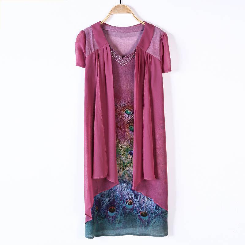 Váy cánh tiên cổ chữ V họa tiết chim công SMT