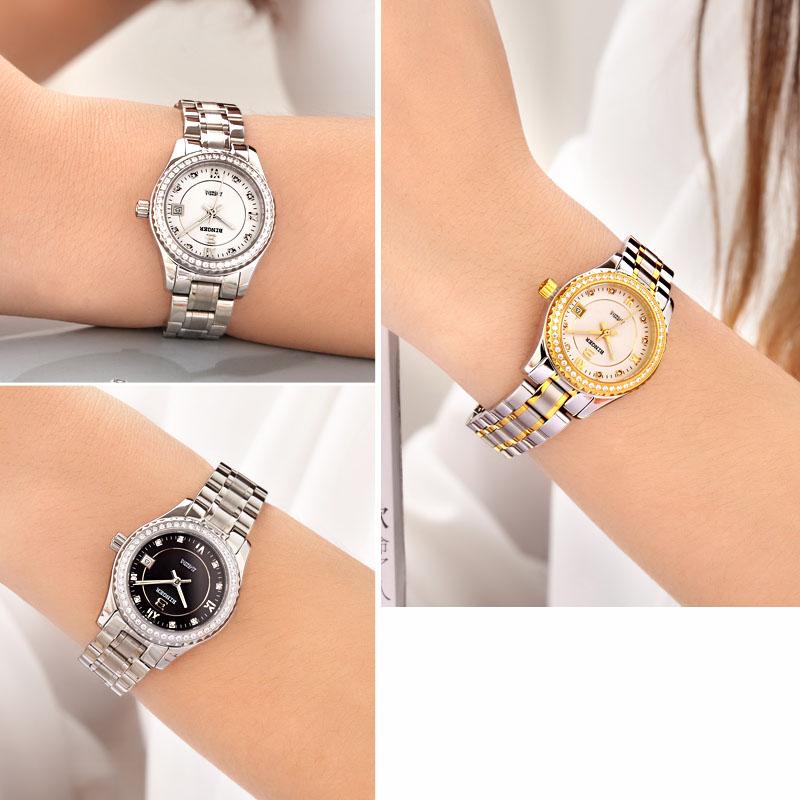 Đồng hồ cơ nữ Automatic gắn đá Binger
