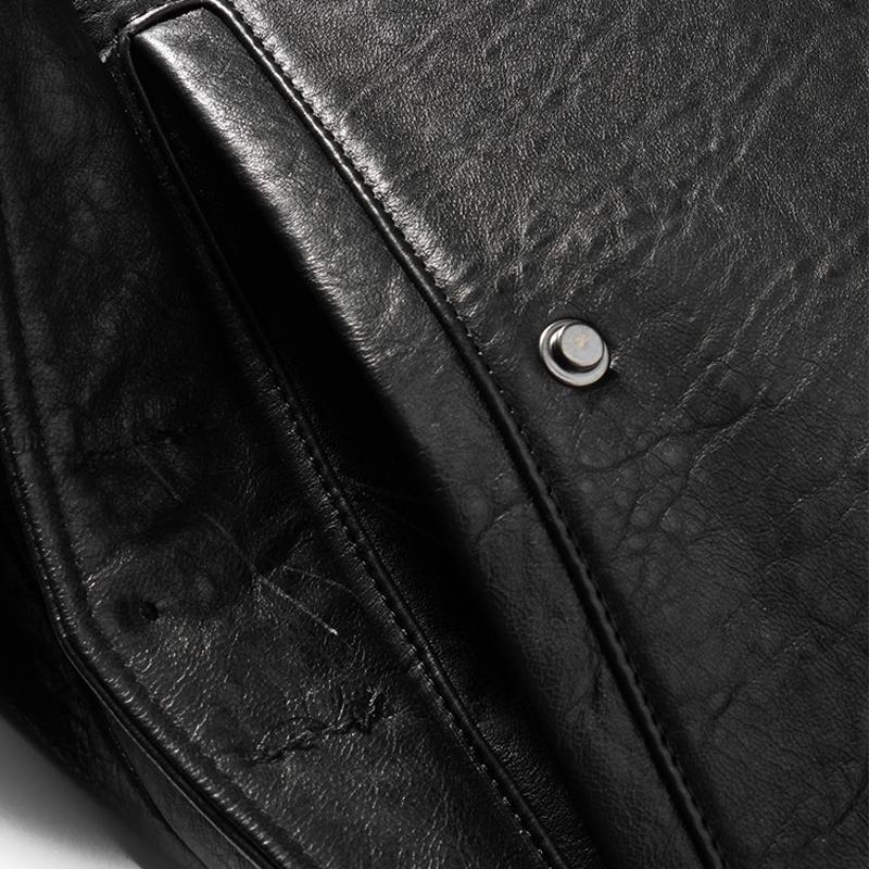 Áo Jacket nam da cừu cổ bẻ dáng ngắn thiết kế mới