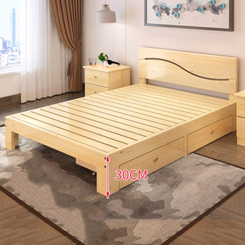 Giường gỗ thông Scotland họa tiết lượn sóng