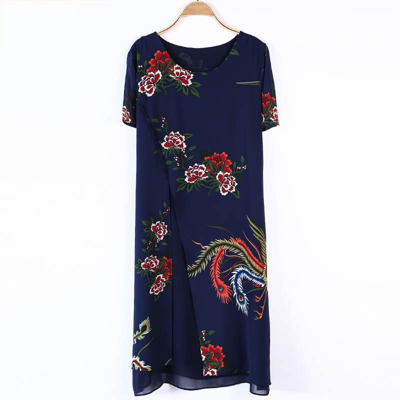 Váy xòe vạt xẻ lệch in hoa mẫu đơn SMT