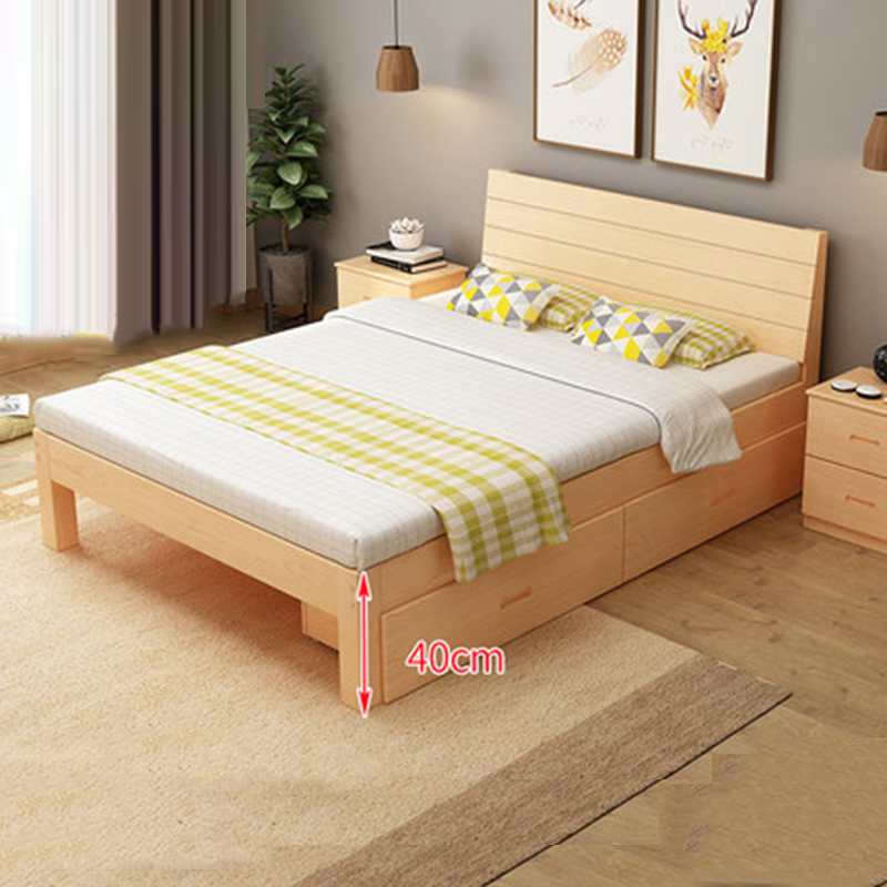 Giường ngủ gỗ thông phong cách hiện đại