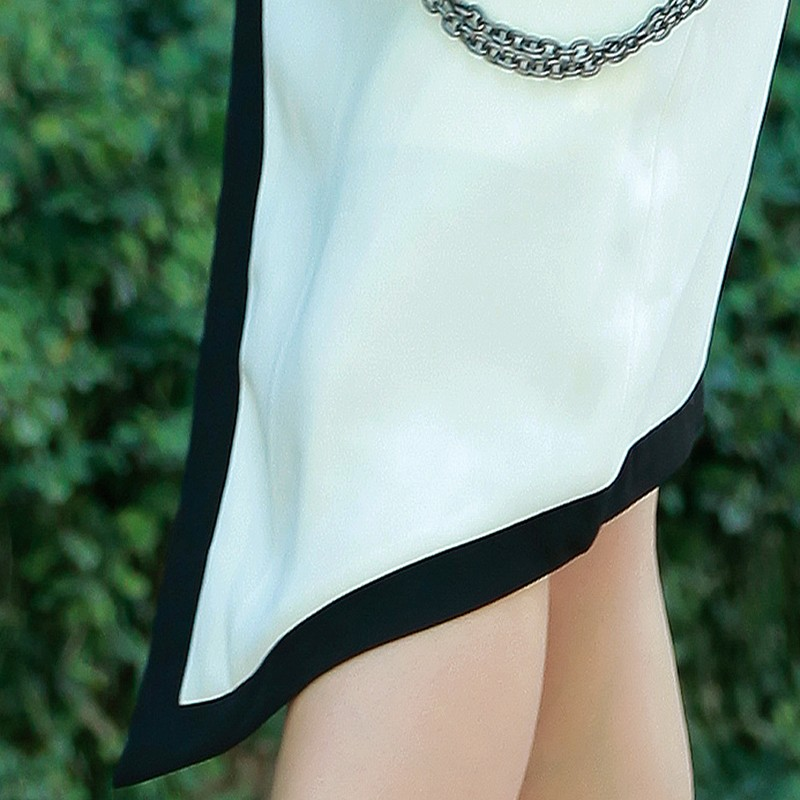 Set váy áo vest sát nách phối viền