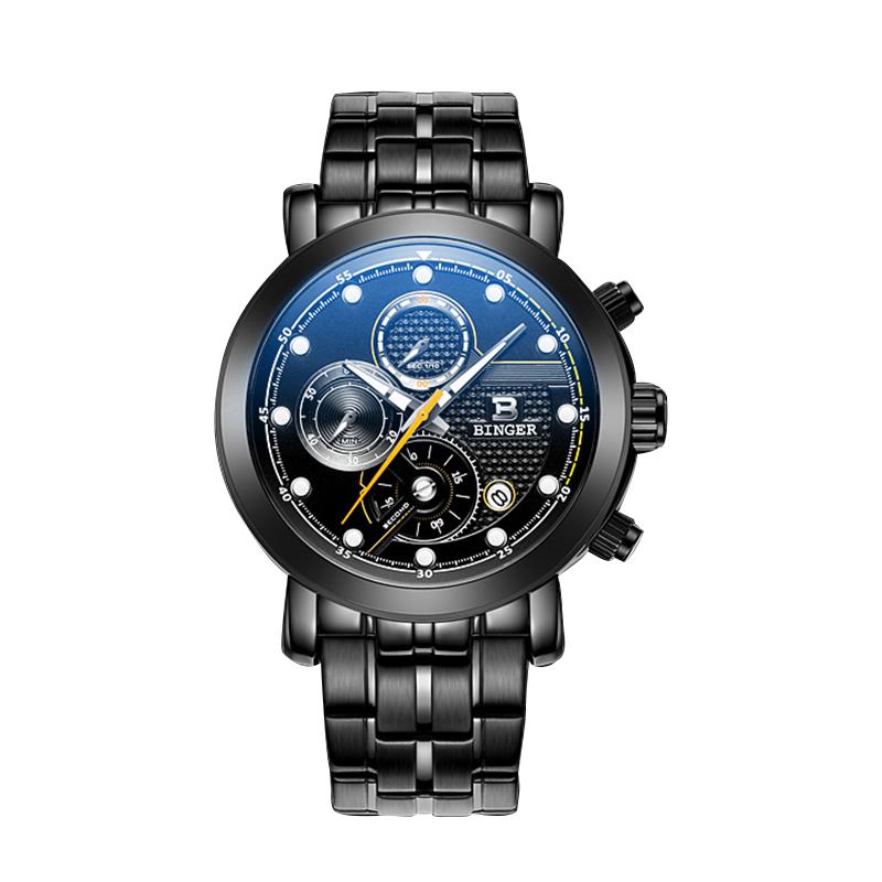 Đồng hồ thể thao nam Chronograph kim dạ quang Binger