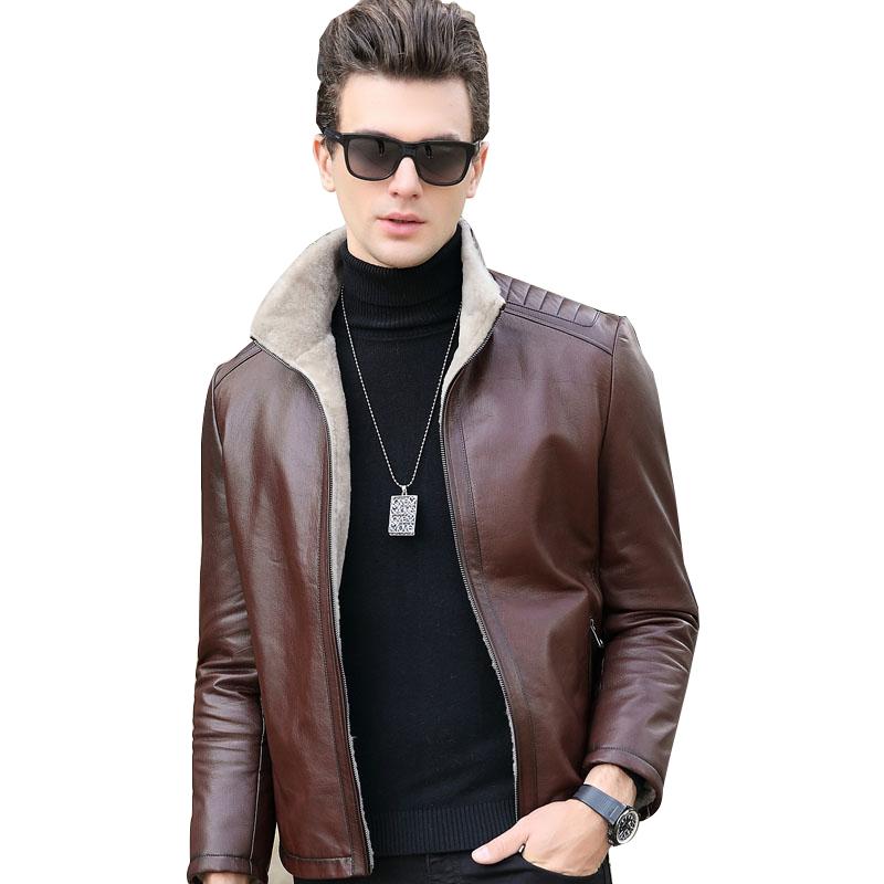 Áo Jacket da dê cổ bẻ lót lông cừu