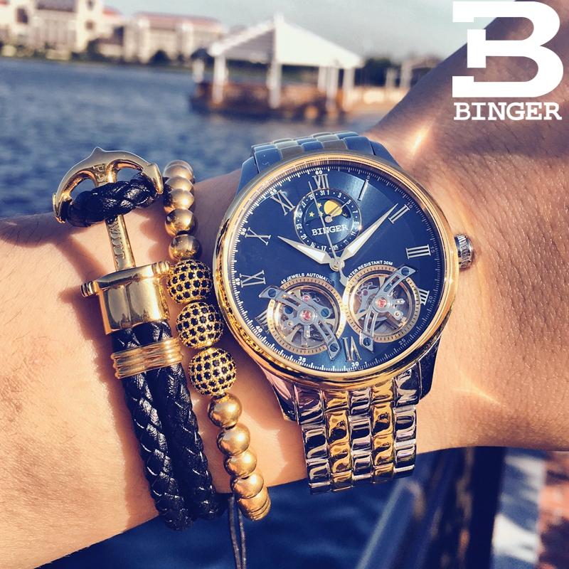 Đồng hồ cơ nam bánh xe thời thượng Binger