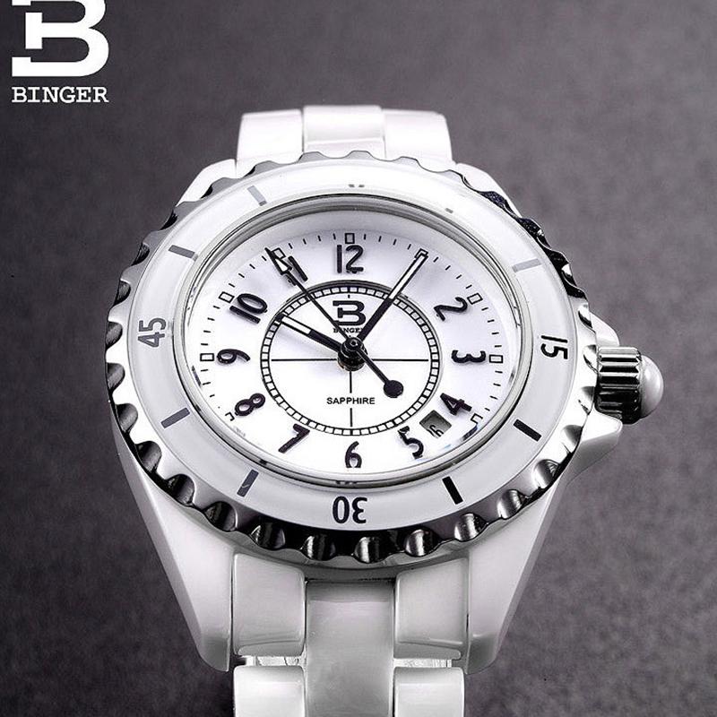 Đồng hồ nữ dây Ceramic viền sóng Binger
