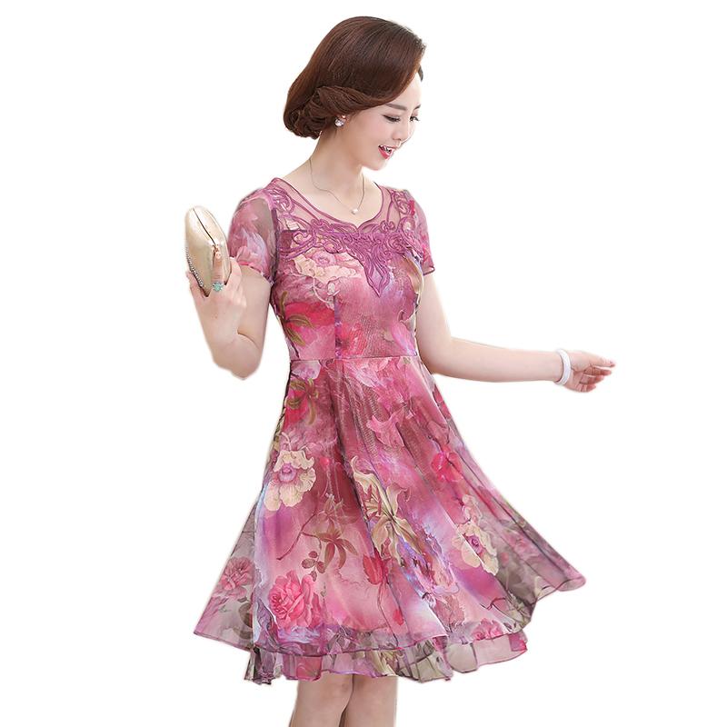 Váy xòe in hoa cổ đáp ren thêu hoa văn SMT