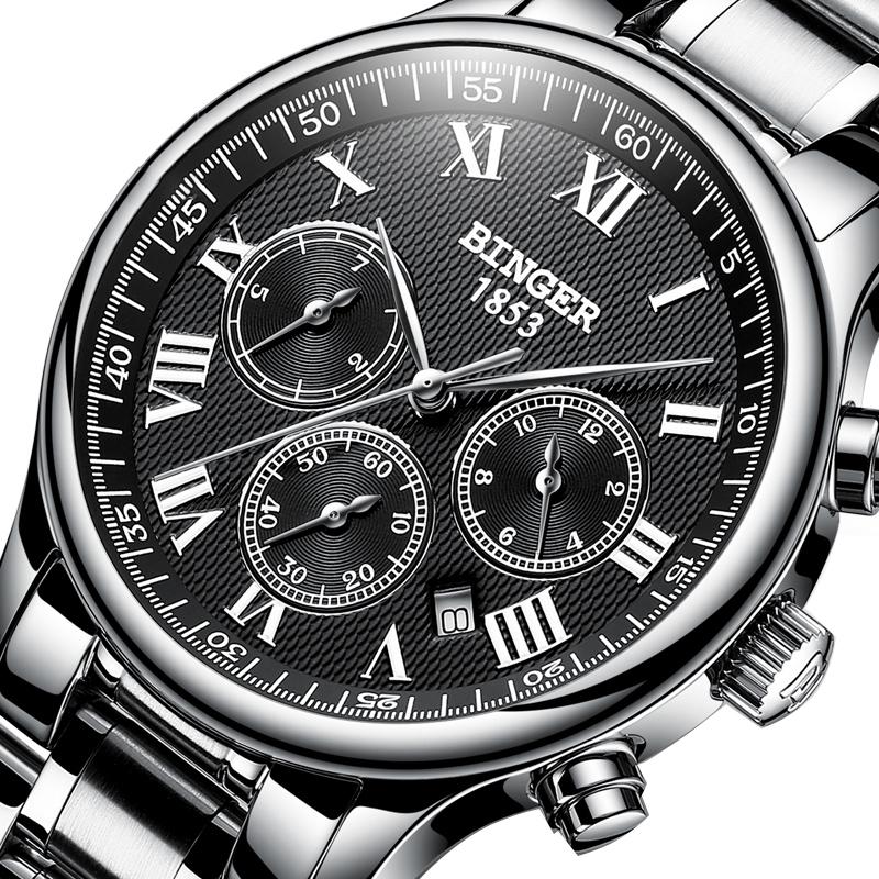 Đồng hồ cơ nam Chronograph 6 kim Binger