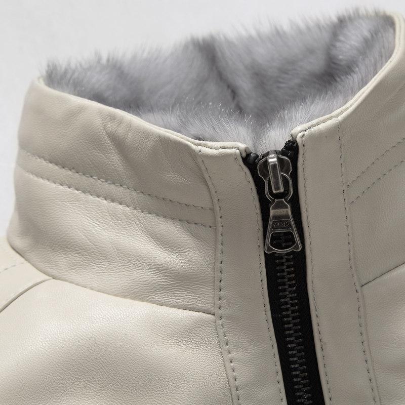 Áo phao da cừu cổ đứng lót lông SinBos