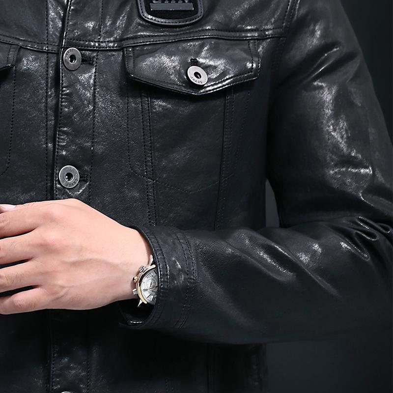 Áo Biker Jacket da cừu cổ bẻ dáng ngắn đầy nam tính