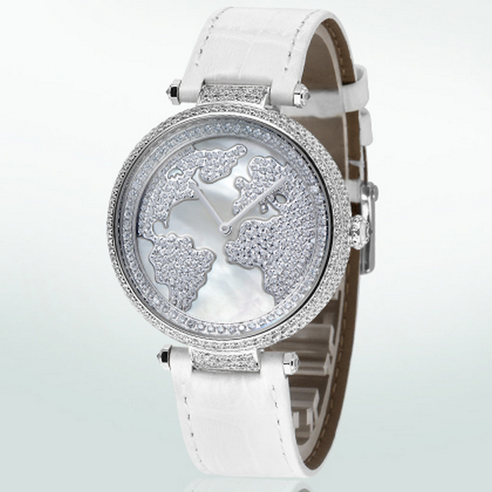 Đồng hồ nữ Pinch L9506 Mặt đồng hồ khắc bản đồ thế giới