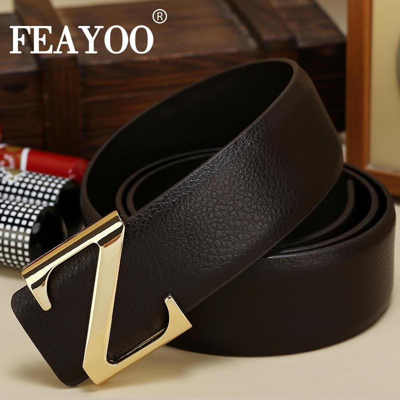 Dây lưng nam màu đen FEAYOO FY-D059 khóa chữ Z
