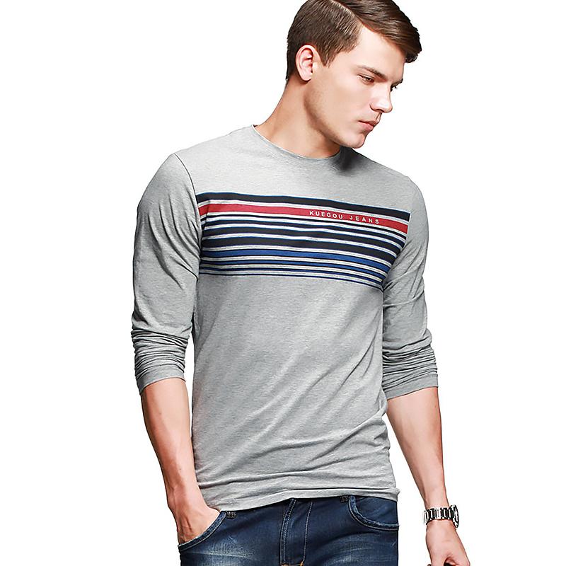 Áo T-shirt dài tay K-Jeans họa tiết kẻ ngang