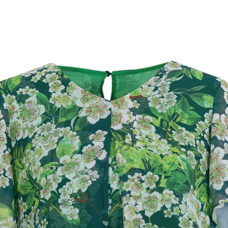 Áo chiffon ngắn tay in hoa Anh Đào Dequanna