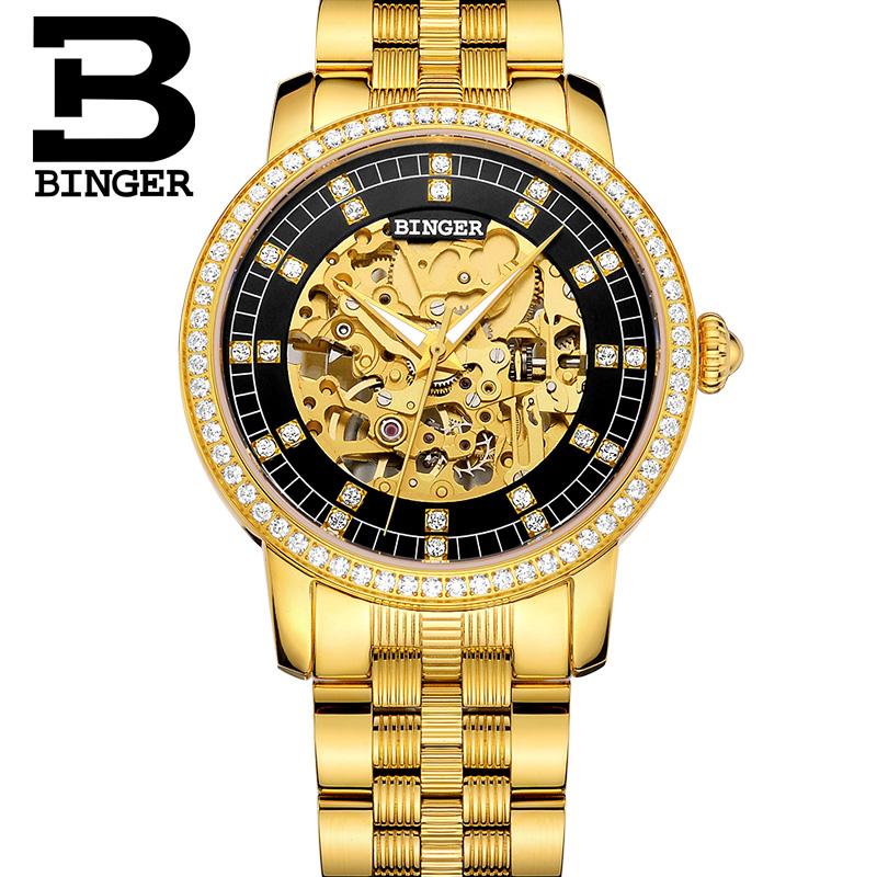 Đồng hồ Binger nữ chạm rỗng đính đá