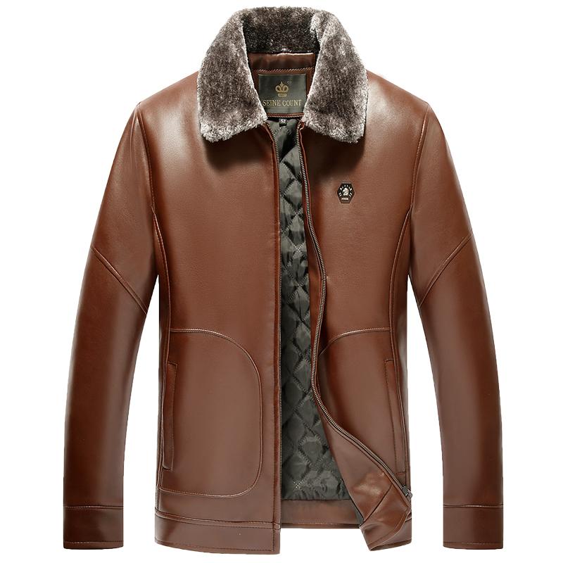 Áo Jacket da nam cổ bẻ lót lông