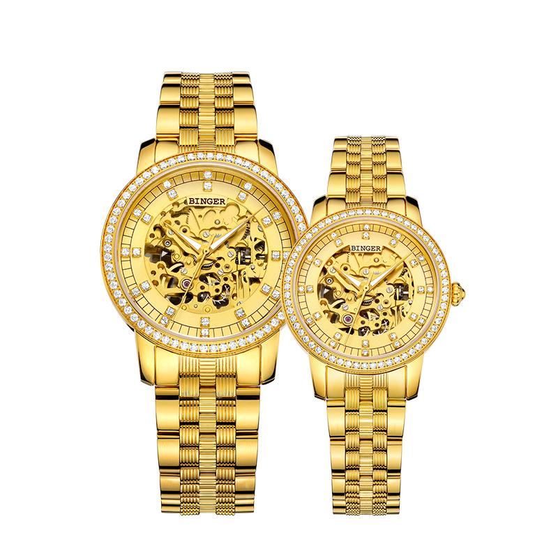 Đồng hồ đôi Binger chạm rỗng đính đá