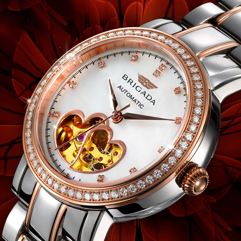 Đồng hồ cơ nữ viền đá Brigada 6002