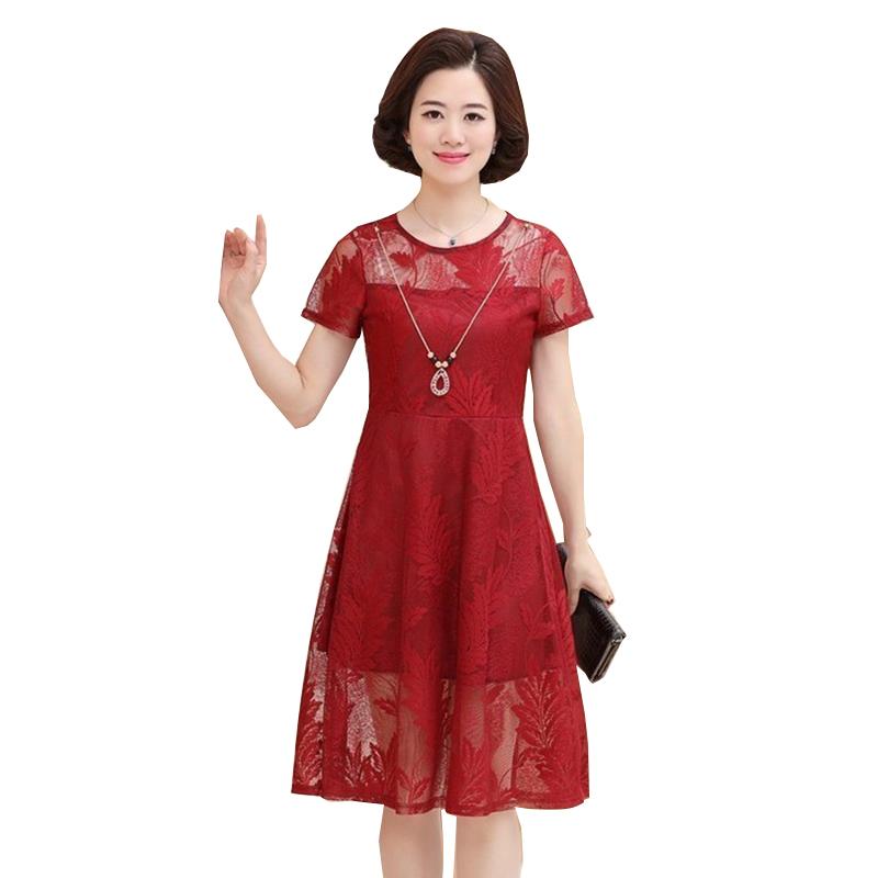 Váy ren hoa dáng xòe cổ tròn SMT