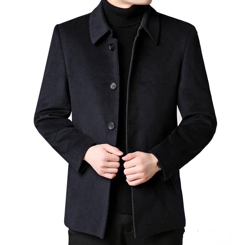 Áo dạ lông cừu cổ bẻ đóng cúc