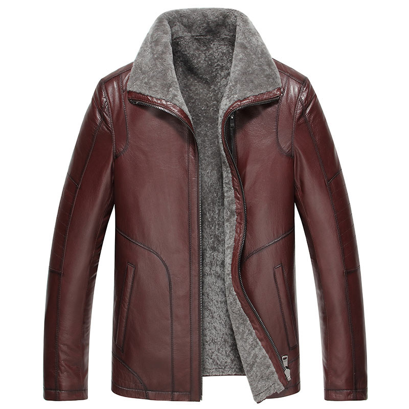 Áo Jacket nam khóa kéo da cừu lót lông cừu cao cấp WDD