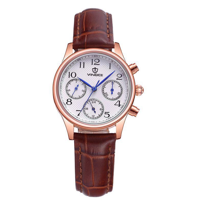 Đồng hồ nữ 6 kim dây da Vinoce