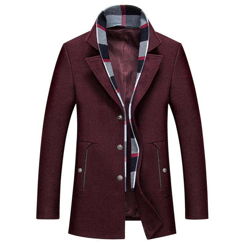 Jacket Slim dạ lông cừu phối khăn