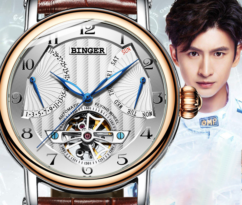 Đồng hồ cơ nam mặt khắc vân cánh quạt Binger