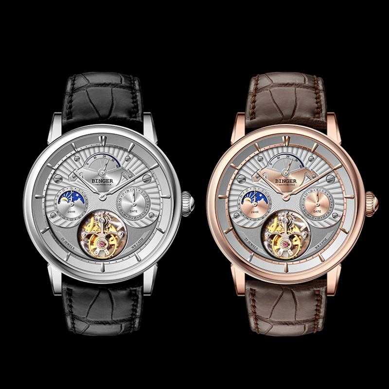 Đồng hồ cơ nam Tourbillon 6 kim Binger