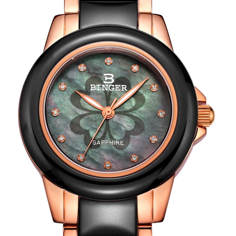 Đồng hồ nữ dây Ceramic mặt khắc cỏ 4 lá Binger