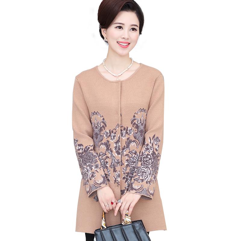 Áo khoác kiểu nữ dáng dài cổ tròn họa tiết hoa mẫu đơn đính đá SMT