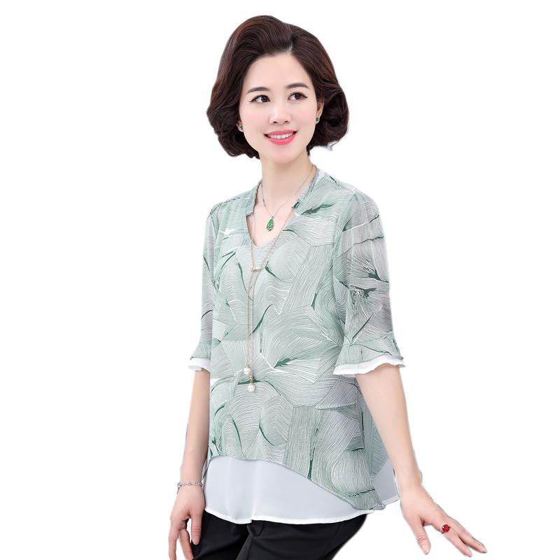 Áo chiffon họa tiết vạt bất đối xứng tay loe SMT