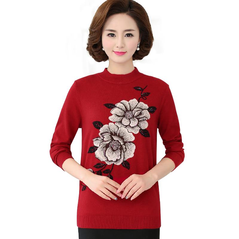 Áo len nữ dài tay cổ lọ dệt hoa hồng đính đá SMT