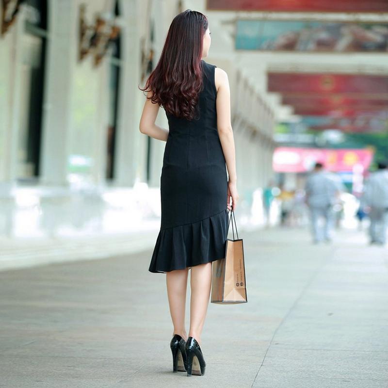 Đầm body vạt phối màu nhún bèo