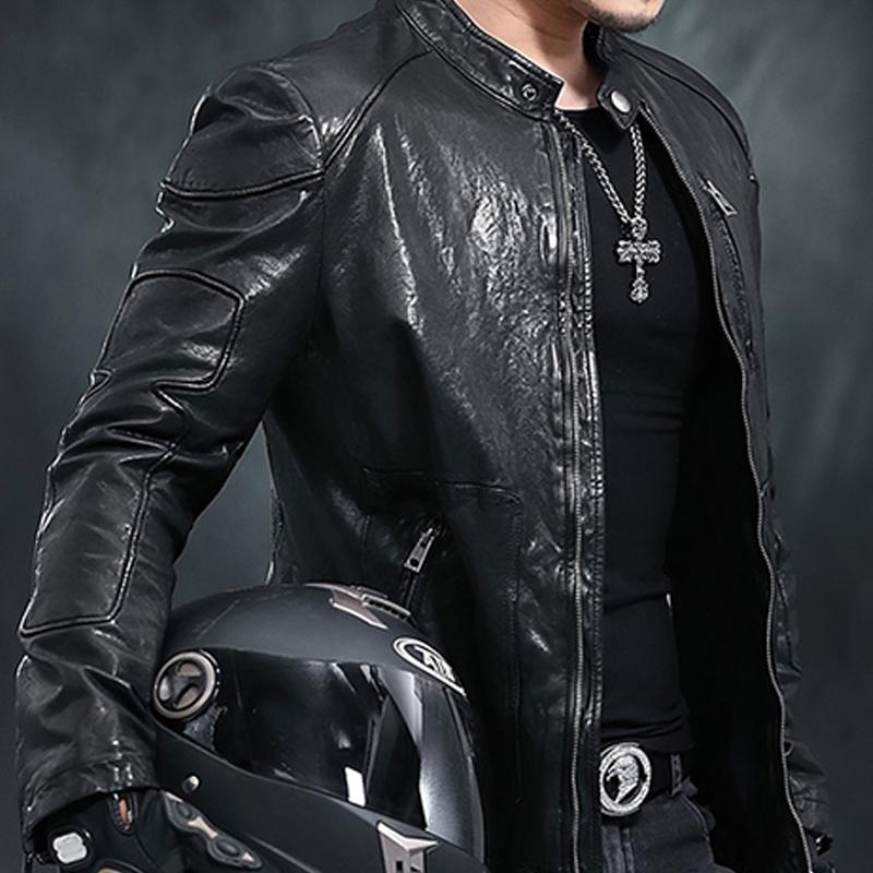 Áo Biker Jacket da cừu túi khóa dọc