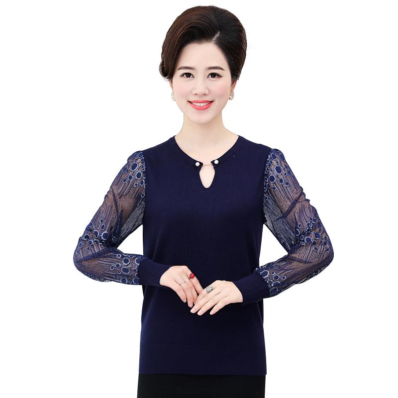 Áo len nữ thu đông tay dài phối ren SMT