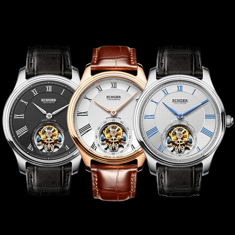 Đồng hồ cơ nam Chronometer số La Mã Binger
