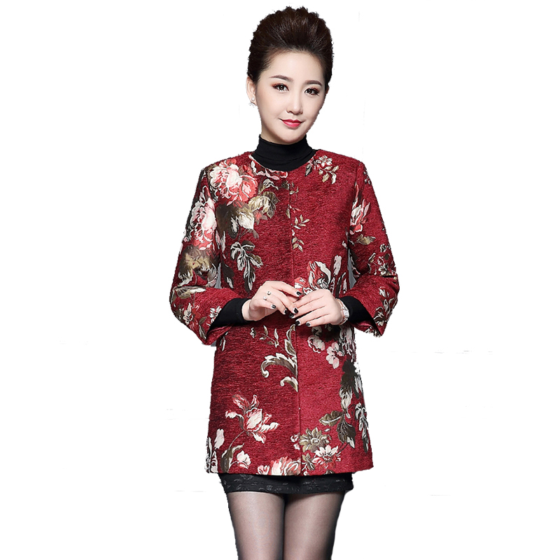 Áo khoác nữ tay lỡ họa tiết hoa đại lệ cúc